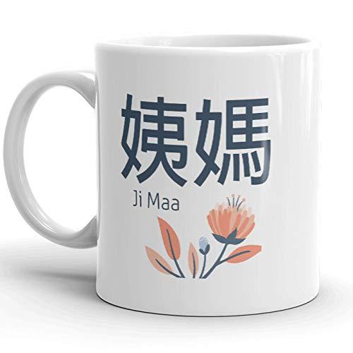 Promini Keramiktasse P1 Ji Maa Tasse, chinesische und englische Ältere Mutterschaft Tante Kaffeetasse 425 ml, Weiß