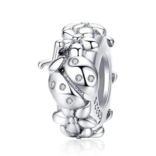 Abalorio de plata de ley con diseño de mariquita, compatible con pulseras Pandora
