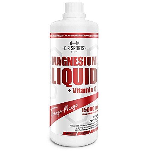 Magnesium Liquid 1 Liter hochdosiertes Magnesium mit Vitamin C - Flasche mit Dosierbecher E19-2