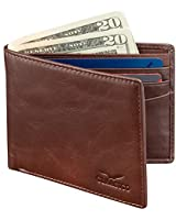 Wallet for Men's - Vintage Leather Slim Bifold RFID Blocking Packed in Stylish Gift Box