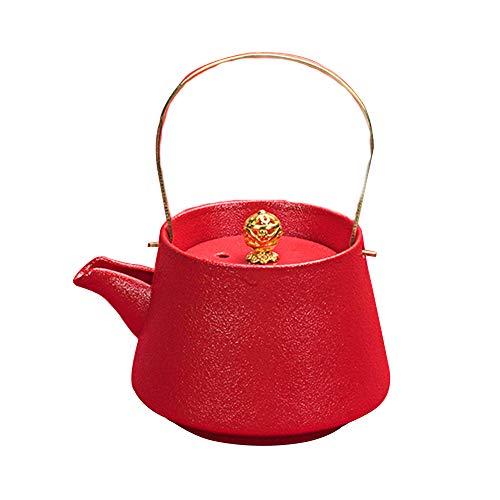GYZD Tetera, Tetera de Porcelana con Tetera de Hoja Suelta floreciente (210 ml) Olla de Mango Rojo,Rojo