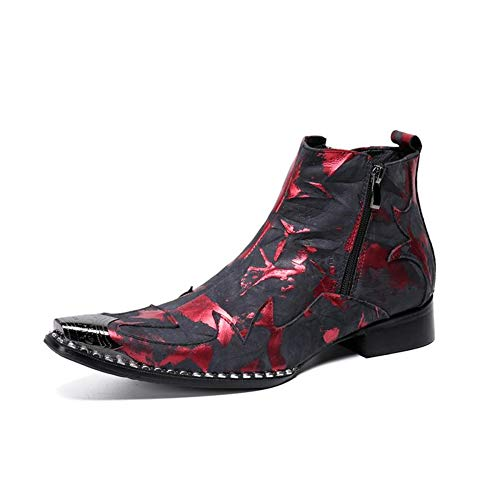 YOWAX Botines para Hombre Botas,Vaqueras para Hombre Botines de Cuero,Zapatos de Cuero Botines Chelsea Rojo-RED-EU42UK8