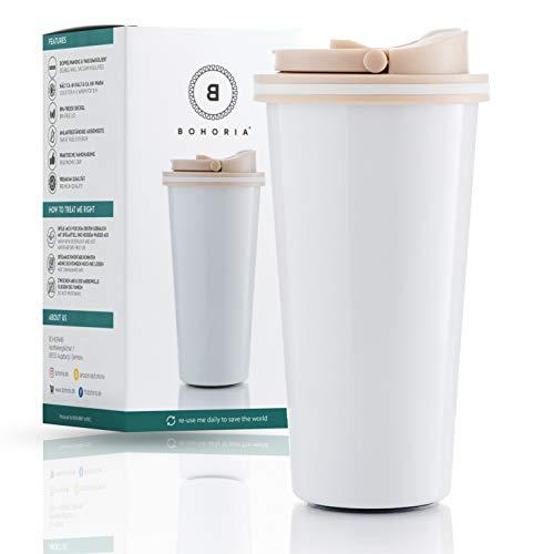 *BOHORIA® Premium Edelstahl Kaffee-to-Go-Becher – Isolierbecher – Thermo-Becher – Doppelwandig & Vakuumisoliert – 500 ml – Reise-Becher Kaffee und Tee zum Mitnehmen – Autobecher Travel Mug (Mug White)*