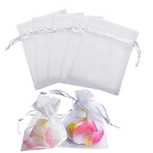Sumshy 50 PZ Sacchettini Organza per Confetti - 7x9cm Sacchetti Coulisse Organza portaconfetti sacchettini portariso bomboniere per Matrimonio Compleanno Battesimo