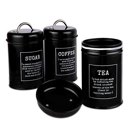Pilito - Juego de 3 recipientes herméticos para alimentos de cocina, decoraciones con tapas, decoración rústica de metal, contenedores para azúcar, café, té y café, color...