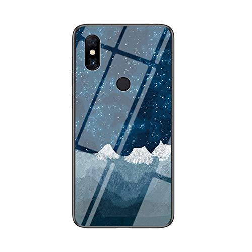 BRAND SET Handyhülle für Xiaomi Mi Mix 3 5G Transparent Star Luo Schachtuch Muster Schutzhülle Gehärtete Glas Rückseite mit TPU-Kanten Stoßfeste Hülle für Xiaomi Mi Mix 3 5G-XLQB