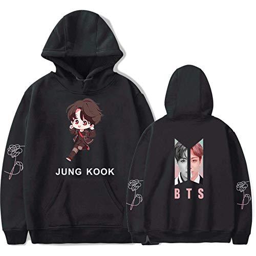 HUANHE BTS Jung Kook Hoodie Young Girls Idol Long Sleeve Sweatshirt Hip Hop Fashion Casual Loose Clothing XXS-4XL Blue