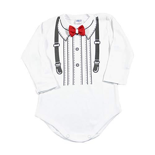 Lollipop Baby Langarm Body Strampler mit Fliege Jungen Hochzeit Smoking Anzug Gentleman Kinder Kleidung Taufe Geburtstag Weiß Neugeborene Geschenk Festlich Bowtie (rot, 74)