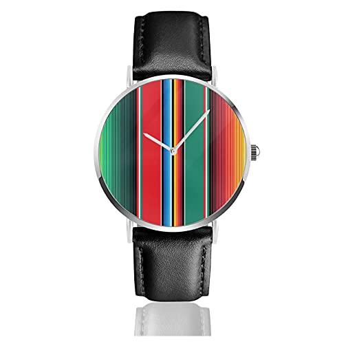 快適なPuレザーストラップ付きメンズレディースノベルティウォッチ、ファッションクォーツビジネスクラシックギフト腕時計-メキシカンラグセラペストライプザアーツ