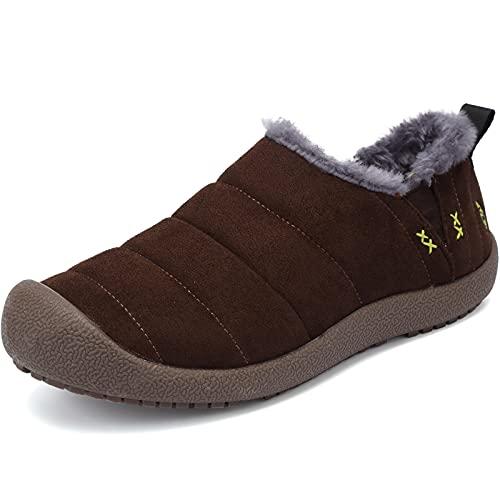VTASQ Zapatillas de Estar por casa Hombre Zapatos de Algodón Adulto Pantuflas Invierno Antideslizantes Zapatillas de Casa Cálido Fluff Zapatos de Estar Zapatilla Marrón EU 42