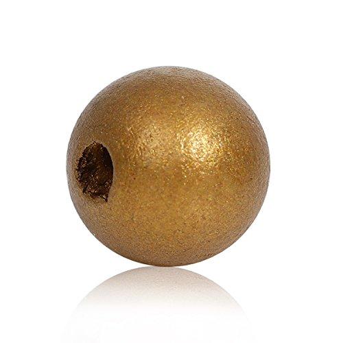 SiAura Material ® - 50 Stück Holzperlen 16mm mit 4mm Loch, Rund, Goldfarben zum Basteln