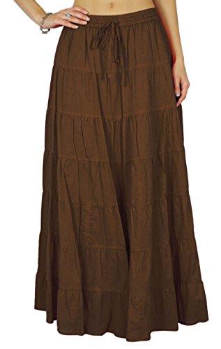 Phagun De Verano De Las Mujeres De Algodón Marrón Falda Etnico Diseño Lazo De La Cintura - 38