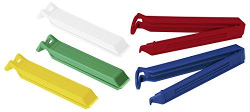 Fackelmann Aromaclips TECNO, Verschlussclips aus Kunststoff, Verschlussklammern für Tüten (Farbe: Weiß/Blau/Gelb/Grün/Rot), Menge: 5 Stück