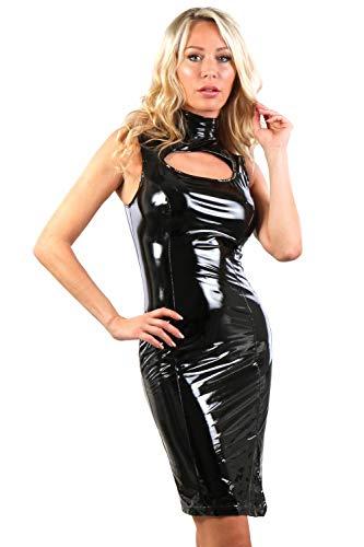 MISS NOIR Damen Vinylkleid im Wetlook S-3XL mit Reißverschluss Sexy Lackleder Kleid Exklusives Clubwear (Schwarz (Black 20332), XL)