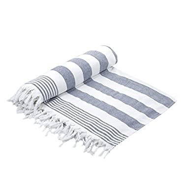 Cottonna 100% Luxury Turkish Cotton Oversized Beach Blanket, 80  by 80 , Peshtemal Front with Terry Loop Back, Fouta Blanket, Throw, Peshterry Beach Towel Queen Size (White-Blue)