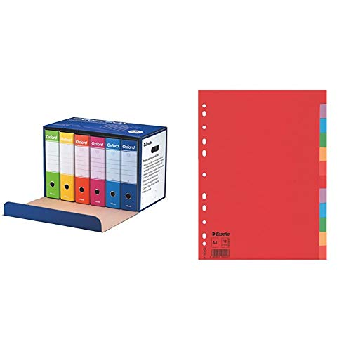Esselte Oxford Box 390785110 6 Raccoglitori Oxford Con Scatola, Formato Protocollo & Divisori Per Raccoglitori Con 12 Tasti, Formato A4, Rosso/Multicolore, Cartoncino Robusto Riciclato