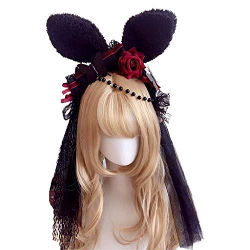 Qiman Diadema con orejas de conejo de peluche, color negro, con velo...