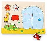 Item- Puzzle Madera Encajes Animales, Multicolor (JE-135179)