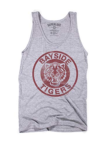 Superluxe Clothing Bayside Tigers Mens Womens Unisex Vintage 90s Funny TV AC Slater Athletic Beach Surfer Tri-Blend Tank Top, Grey Tri Blend, Medium