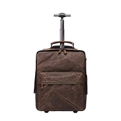 HONGYU Rucksack, wasserdichte Ölwachs-Segeltuchtasche Crazy Horse Skin Outdoor Trolley Reisegepäck-Multifunktionsrucksack, 15,6-Zoll-Computer-Tasche (Farbe : Brown)