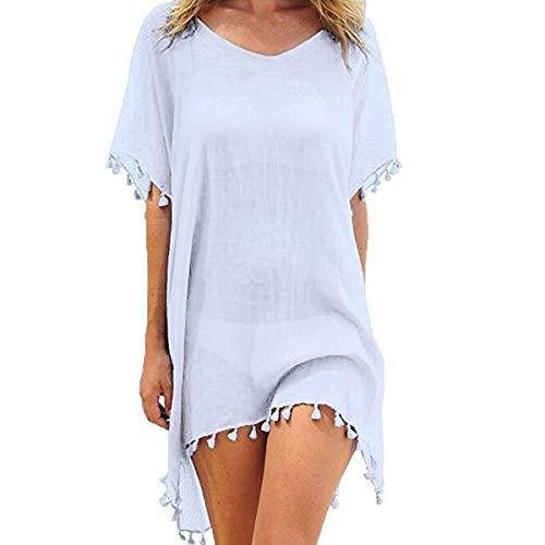 YONHEE Damen Sommer Strandkleid-Badeanzug vertuschen Chiffon Quaste Sommer Casual Bademode Bikini Beach Dress Swim Badeanzug (White)