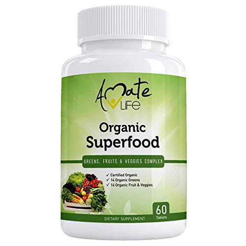 Organic Superfood Greens Fruits and Veggies Complex- Best Dietary Supplement with 14 Greens and 14 Fruits & Vegetables- Rich in Antioxidants- All-Natural Organic Ingredients- Non-GMO 60 Tablets