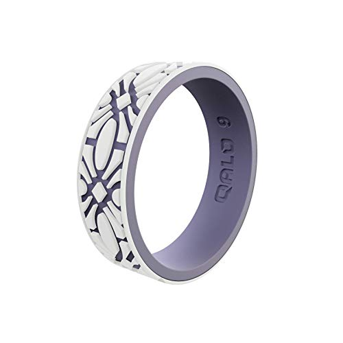 QALO Women's Strata White and Lilac Flora Silicone Ring Size 09