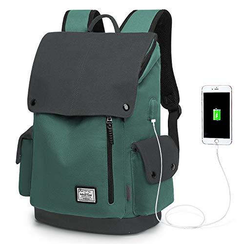 WindTook Canvas Backpack Daypack 15 Zoll Laptop Rucksack Schulrucksack Tagesrucksack mit USB Anschluss für Uni Büro Alltag Freizeit, Grün