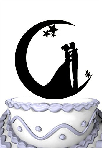 Meijiafei Wedding Cake Topper - Bride and Groom Vow In the Moon for Engagement Party Decoration