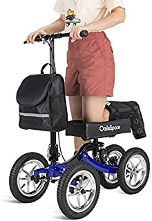 OasisSpace Shock Absorber All Terrain Knee Walker Scooter-with 12 Inches Durable Air Filled Wheels, Steerable Knee Walker Heavy Duty Crutches Alternative for Foot Injuries Ankles Surgery (Blue)
