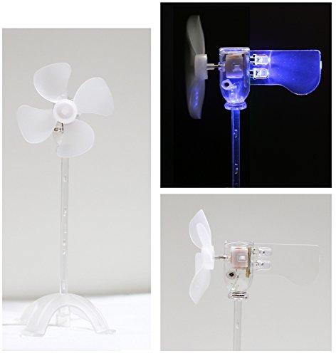 LED風車,風力発電実験モデル・小型発電機を内蔵する,電池なし・省エネ科学実験に適用する,自由研究と想像力を育成する・奇妙な趣もしおもちゃや装身具 (B .純青)