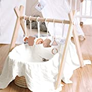 Mallify Wooden Baby Play Gym, Baby Gym with Pull Ring, Toddler Activity Center with 6 Hanging, Hanging Bar, Easy to Assemble…