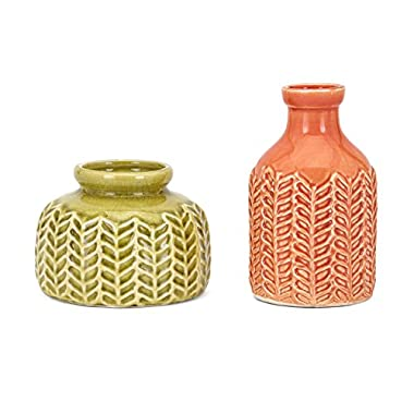 CC Home Furnishings Set of 2 Wild Wheat Coral and Olive Glazed Ceramic Vases