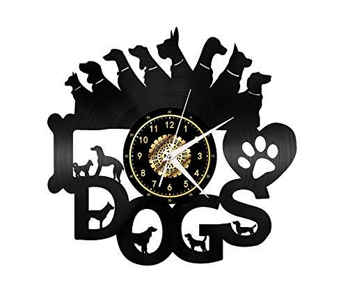 "Xiayanmei Dog Vinyl Record Wanduhr Fan-Kunst-Dekor Originelles Geschenk Einzigartige dekorative Vinyl Clock Schwarz 12\"" (30 cm),I"