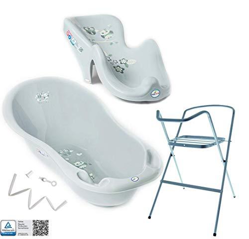 Tega Baby ® Baby Badewanne mit Gestell und Verschiedene Sets mit Babybadewannen + Ständer + Abfluss + Badewannensitz 0-12 Monate | ergonomisch Neugeborene, Motiv:Eule - grau, Set:4 Set