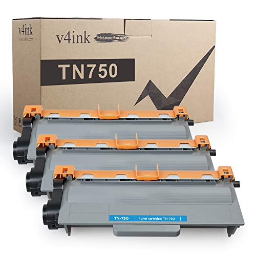 V4INK 3-Pack Compatible Toner Cartridge Replacement for Brother TN750 TN-750 TN720 TN-720 High Yield Toner Cartridge for Brother hl-5470dw hl-6180dw mfc-8710dw dcp-8110dn mfc-8950dw mfc-8910dw Printer
