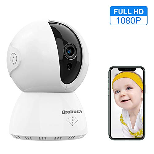 Baby Monitor, Brokuca WiFi Camera Indoor for Baby/Nanny/Pet, 1080P FHD Wireless Security Camera, Motion Detection, IR Night Vision, 2-Way Audio, Works with Aelxa, 2.4GHz Monitors