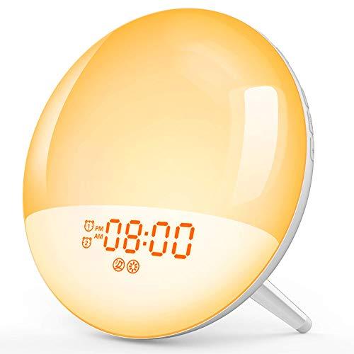 Wake Up Light Lichtwecker LED Nachtlicht Baby mit USB Handy Ausgangsport Schlafhilfe Sonnenaufgang&Sonnenuntergang Simulation/2 Alarme/Snooze/7 Wecktöne/FM Radio/20Helligkeit/16Volumen