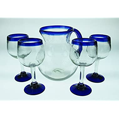 Hand Blown Wine Glasses Sangria or Wine & Bola Pitcher Set, Blue Rim (Set of 4) made in Mexico