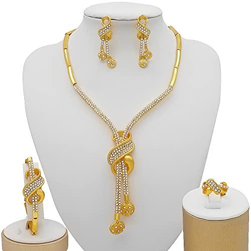 QXZ-WOLFBERRY Dubai Gold Jewelry Conjuntos, Regalos de Boda africanos de Novia para Mujer Saudita Collar Árabe Pulsera Pendientes Set Joyería (Metal Color : BJ858 1)