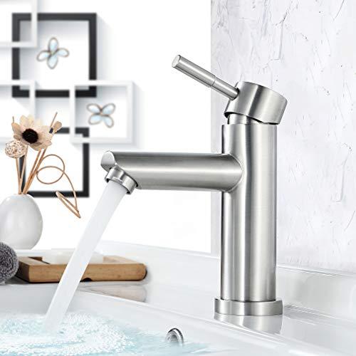 Faulkatze Wasserhahn Bad Edelstahl Waschtischarmatur Waschbecken Armatur Bad Wasserhahn Mischbatterie Einhebelmischer Waschbeckenarmatur, Matt