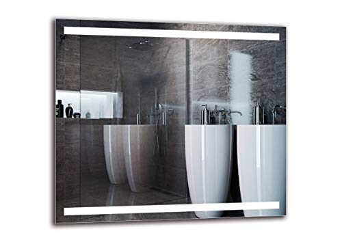 Espejo LED Premium - Dimensiones del Espejo 90x80 cm - Espejo de baño con iluminación LED - Espejo de Pared - Espejo de luz - Espejo con iluminación - ARTTOR M1ZP-30-90x80 - Blanco frío 6500K
