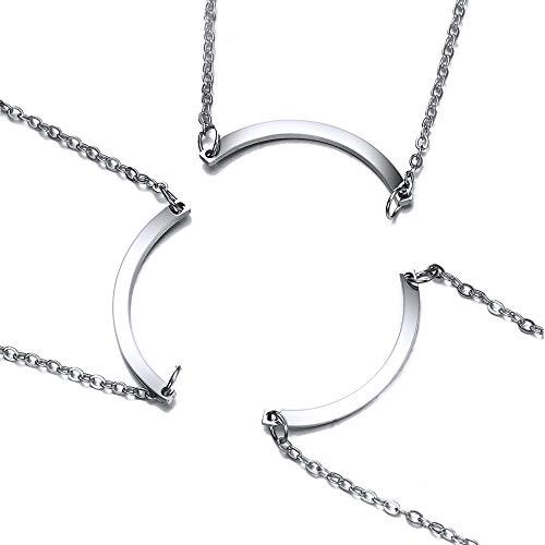 MiaLover Juego de 3 collares con diseño de rompecabezas para mejores amigos, de acero inoxidable, regalo para mujeres, adolescentes y niñas