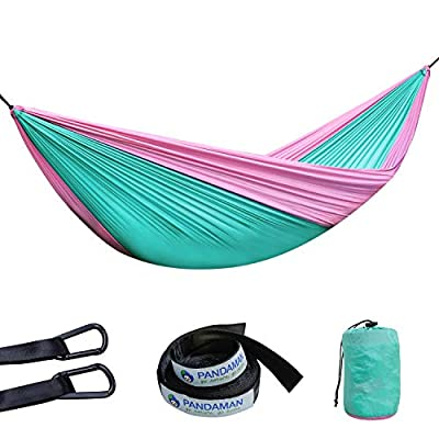 PANDAMAN Outdoor Camping Gear Single & Double Nylon Hammock with 2 Tree Straps, Lightweight Portable Backpacking Parachute Hammock, Hiking, Travel & Adventure (Green/Pink, Single)