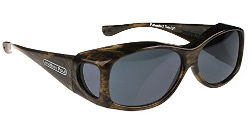Jonathan Paul Fitovers Glides Extra-Small Polarized Over Sunglasses ; Brushed Horn & Polarvue Gray