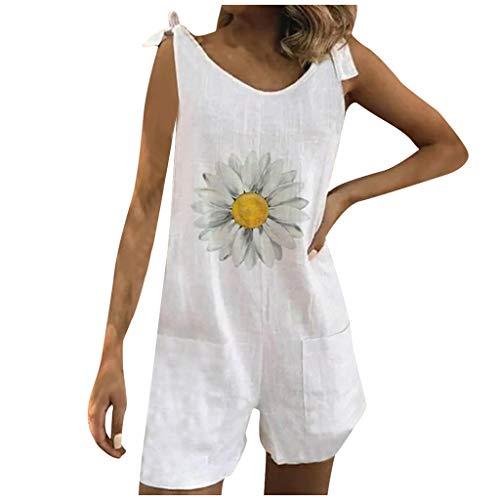 iHENGH Fashion Women Bandage Daisy Print Pockets Suspenders Pants Shorts Jumpsuit(White,XXXL)