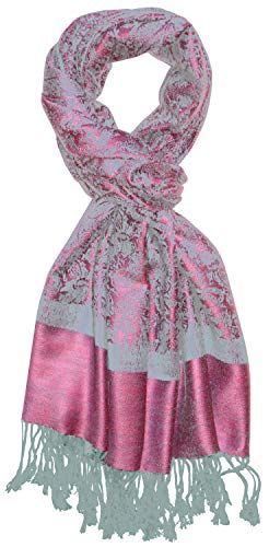 Lorenzo Cana Pashmina Schal Schaltuch jacquard - gewebt Paisley Muster 70 x 180 cm Tuch Naturfaser Rosa Hellblau 9332711