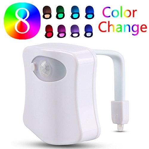 Solmore - Lámpara LED para inodoro, con función de luz nocturna, sensor detector PIR, 8cambio de colores, para inodoro o cuarto de baño, regalo original para abuelos, familiares o niños