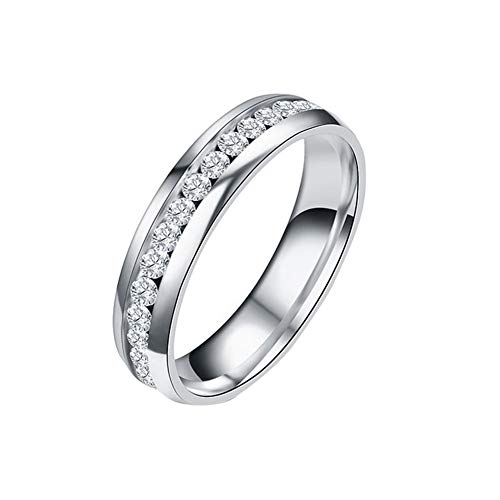 Aland Health Care Weight Loss Fat Burning Slimming Magnetic Ring Rhinestone Jewelry Silver US 7