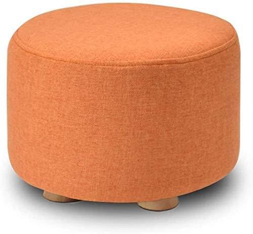 FWZJ Pasillo de Lino de Madera de 4 Patas, Sala de Estar, Acolchado, Suave y cómodo, Taburete para sofá, Taburete para niños, Asiento de Banco de Madera (Color: Naranja)